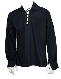 ecossais-noir-Jacobite-Ghillie-chemise-cuir-velours-cotele-Tailles-S-M-L-XL