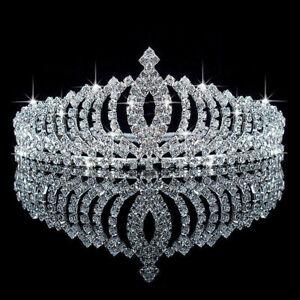 Silver-Bridal-Tiara-Rhinestone-Crystal-Prom-Wedding-Quinceanera-Pageant-Crown-US