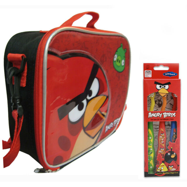 Angry Birds Insulated Lunch Bag w Strap + 3 pack Toothbrush School Kids Boys  Set 3b2bbc81e5011
