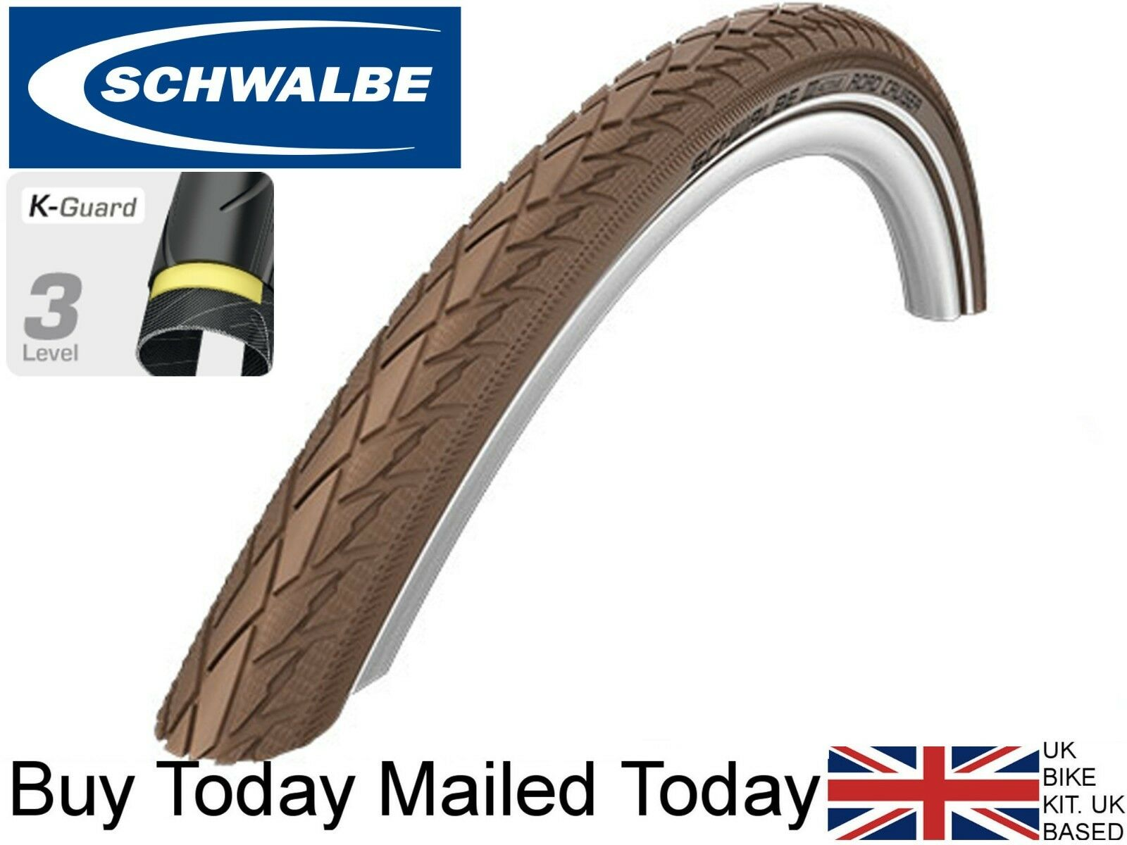 Schwalbe Road Cruiser 700 x 40c Kevlar Reflex Chocolate Brown 42-622 Bike Tyre