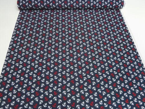 Stoff Baumwolle Jersey Anker Maritim Druck marine blau weiß rot Kleiderstoff