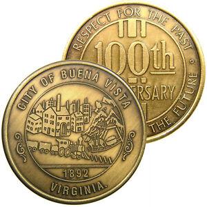 BUENA VISTA, VIRGINIA, 100th Anniversary (1992) Commemorative Medal, City View.