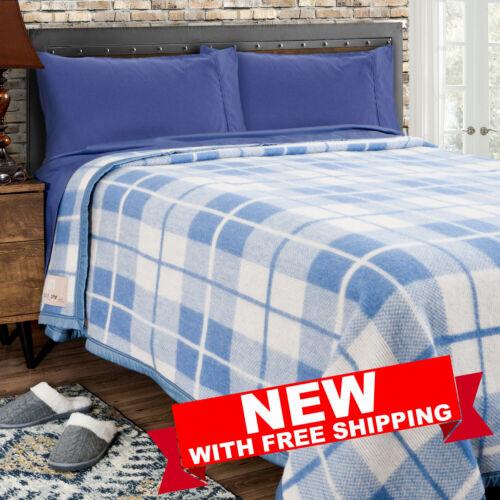 Poyet Motte Rivoli 400GSM Mediumweight 100/% Wool Blanket King Blue//Nat