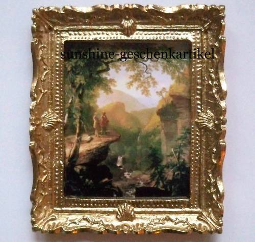 1:12 Landscape picture in magnificent Full Gold Frame Dolls House Miniature