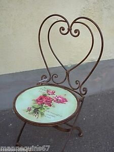 CHAISE FER FORGE DECORATION JARDIN MAISON GAZON ROSE | eBay