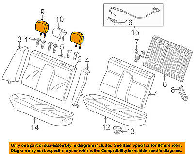 Honda Genuine 82140-TS8-V21ZB Headrest Assembly Rear