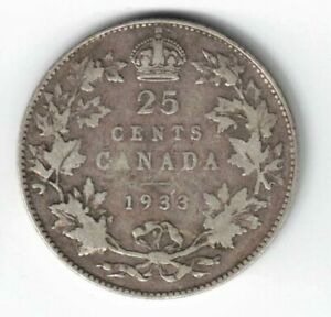 CANADA-1933-TWENTY-FIVE-CENTS-QUARTER-KING-GEORGE-V-800-SILVER-CANADIAN-COIN