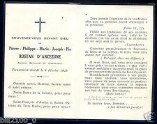 faire-part de décès.Pierre-Philippe-Marie-Joseph-Pie Rostan d'Ancezune.cavalerie