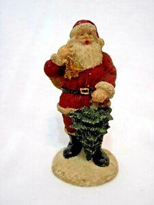 Vintage Painted Resin Santa Claus Figurine W Bag Of Toys Tree 3 3 8 Ebay