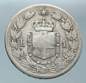 1887 ITALY with King Umberto I VINTAGE Antique Silver 1 Lira Italian Coin i86109