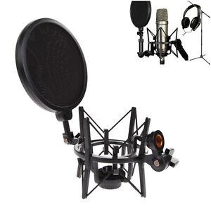 Mic-Microphone-Shock-Mount-Stand-Studio-Holder-Integrated-Filter-Adjustable