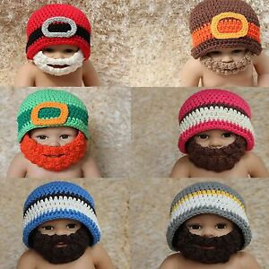 1e5e443ec56 New Handmade Knit Crochet Baby Child Full Beard Hat Cap Newborn ...