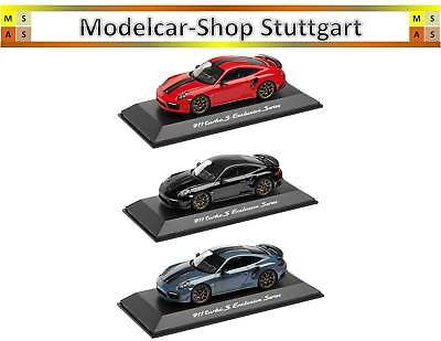 Porsche 911 Turbo S Exclusive Series Black,indischrot,blue Toys, Hobbies Automotive Spark 1:43 New