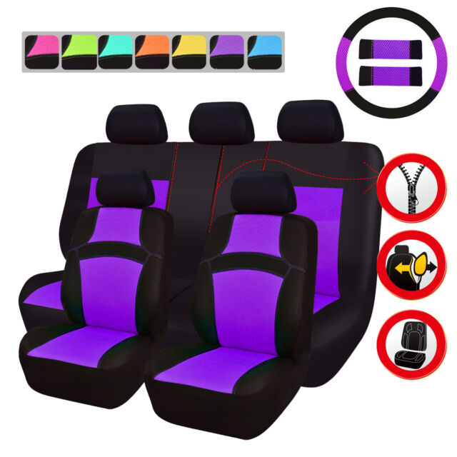 Universal Car Seat Covers Purple For Women Steering Wheel Cover Fit Split Rear