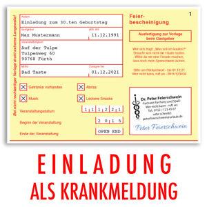 Das Bild Wird Geladen Einladungen Geburtstag Krankschreibung Krankmeldung  Einladungskarten 30 40 50