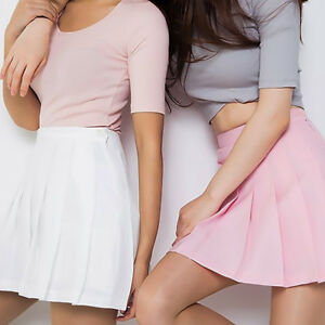 Women-Tennis-High-Waist-Plain-Skater-Flared-Pleated-Mini-Skirt-Shorts-Skirts