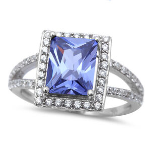 RADIANT-CUT-TANZANITE-amp-CZ-925-Sterling-Silver-Ring-SIZES-5-10