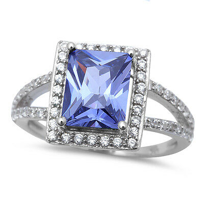 RADIANT CUT TANZANITE & CZ .925 Sterling Silver Ring SIZES 6-10