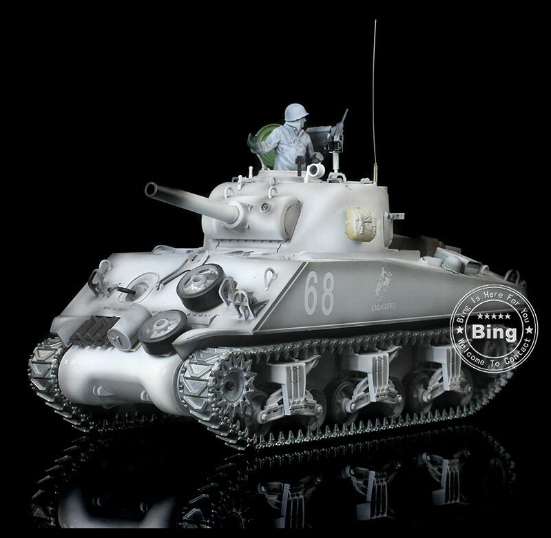 2.4Ghz HengLong 1 16 Winter Snow Metal USA M4A3 Sherman RTR RC Tank DIY 3898W-1