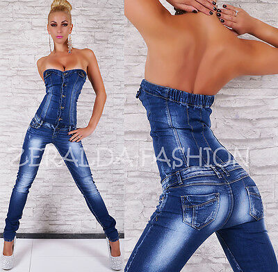 HOT* SEXY JEANS* OVERALL* HOSE* JUMPSUIT* RÖHRE* SKINNY* BANDEAU* BLUE WASHED