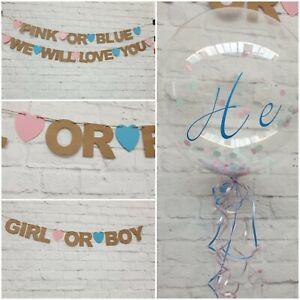 Baby-Shower-Banner-Boy-Girl-Rosa-o-Blu-Decorazioni-Bunting-SESSO-rivelare-KRAFT