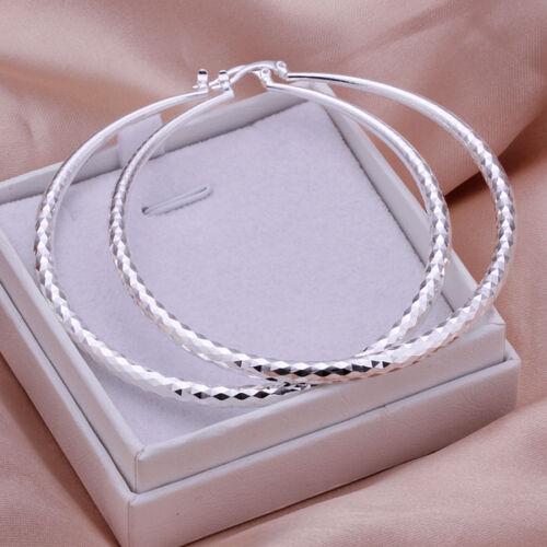 Wholesale sterling solid silver Fashion Twinkle Rondes boucles d/'oreilles Créoles xlse 290
