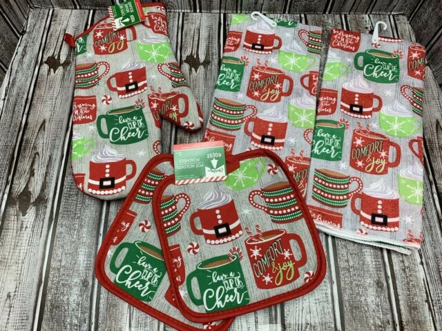 5 pc Hot Chocolate Coffee Cup Mug Christmas Kitchen Towels Pot Holders Oven Mitt