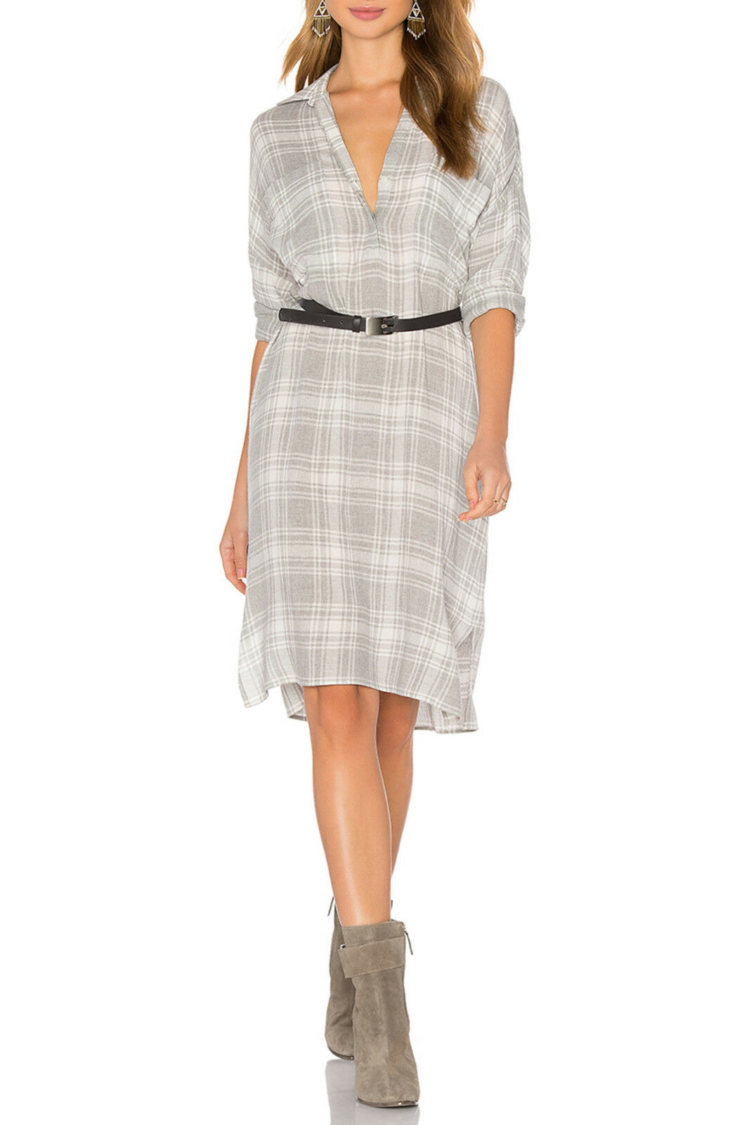 NWT James Perse Oversized Plaid Shirt Dress Wool Blend GREY PLAID Size 3 Large L