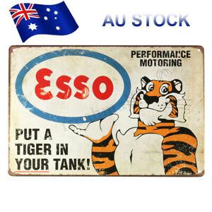 Esso-Petrol-Tiger-Motor-Oil-Old-Vintage-Tin-Metal-Sign-Advert-Retro-Garage-Pub