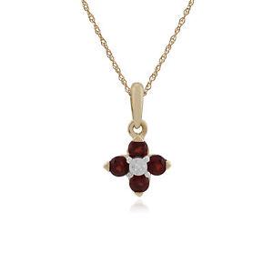 Gemondo-9Ct-Oro-Amarillo-Granate-amp-Diamante-Quatrefoil-Collar