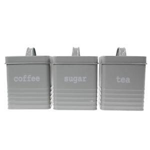 3pc-Carre-Gris-boites-a-the-cafe-sucre-de-rangement-cuisine-tin-pots-Canister-Set