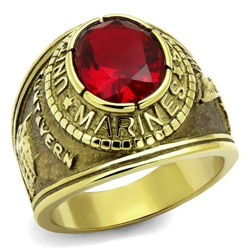 US Marines Men/'s Stainless Steel Gold IP USMC United States USA Veteran RING