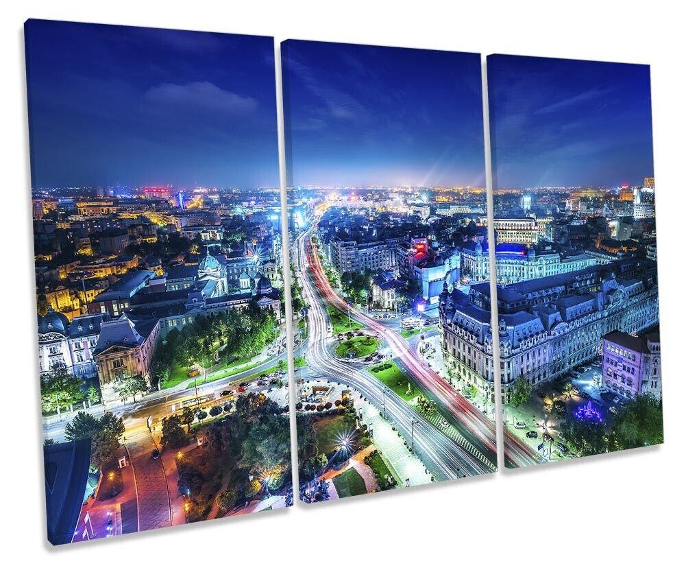 Bucharest Stadt Skyline Bild TREBLE CANVAS Wand Kunst Drucken Blau