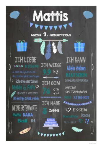 Chalkboard Geburtstag Meilensteintafel 1 Geburtstagsposter Baby