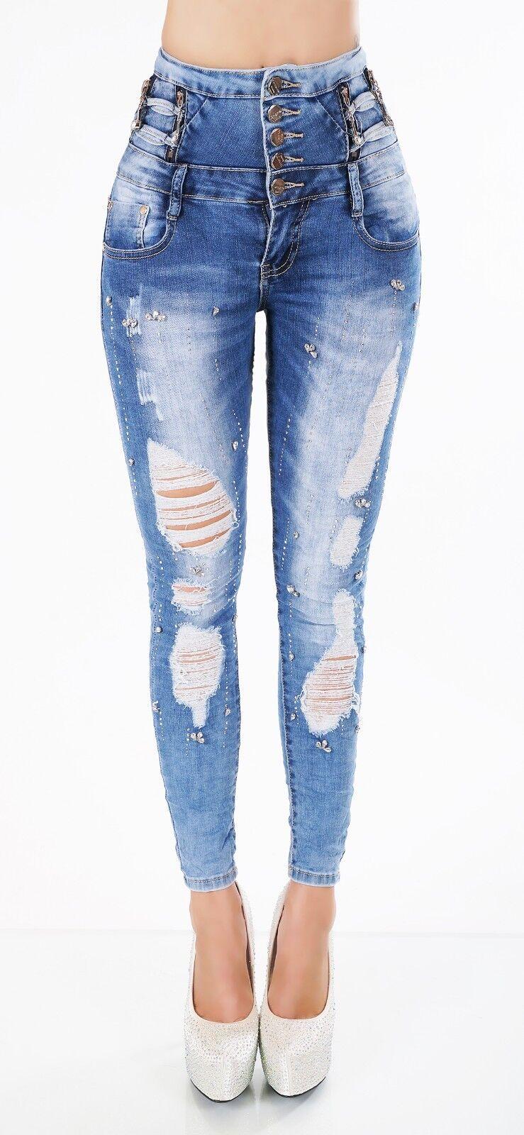 L'Original Femmes High Waist Jeans Pantalon Stretch Jean Cigarette XS-XL DETERIORE STRASS XS-XL Cigarette 5e191c
