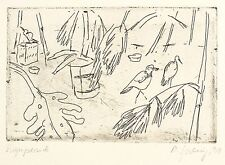 MARGOT SPERLING - In der Vogelvoliere - Radierung 1991