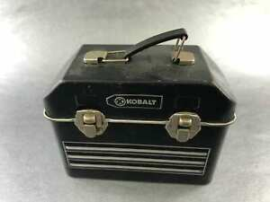 Kobalt-Black-amp-Silver-Mini-Metal-Tin-Gift-Box-Lunchbox-Tool-Box-Chest