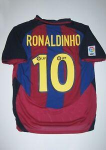 3cdbcecdd 2003-2004 Nike FC Barcelona Ronaldinho Home Jersey Trikot Shirt Kit ...