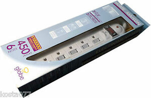 NOS-Globe-6-Outlets-450-Joules-3-Star-Home-Appliance-Surge-Protector-Power-Bar