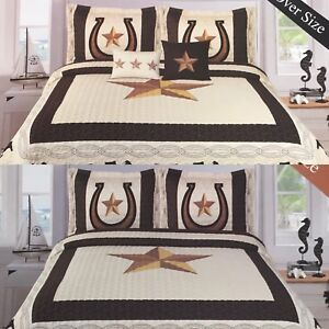 Western Horseshoe Rustic Burgundy Riding Cowboy Star Bedspread Quilt 3 Pc Set