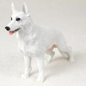 German-Shepherd-Hand-Painted-Collectible-Dog-Figurine-Statue-White