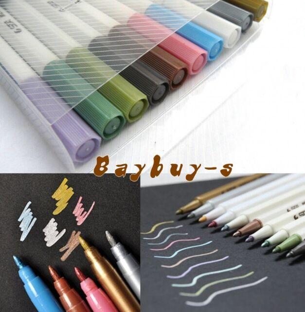 BOX Set of 10 or 6 Colour Metallic Marker Felt Tip Pens Card Making Scrapbooking
