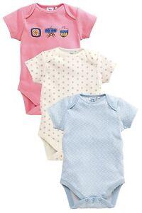ВNWT NEXT Babygrows Playsuits •Blue Flower Bodysuits 3pk • 100% Cotton • 6-9mns