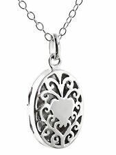 Oval Filigree Heart Locket Necklace - 925 Sterling Silver - Perfume Photo NEW