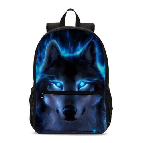 Blue Wolf Kids Schoolbag Boy Large Backpack Cross Body Bags Cool Pencil Case LOT