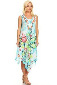 Women-Summer-Casual-Loose-Long-Dress-Sleeveless-Tye-Dye-Umbrella-Beach-Cover