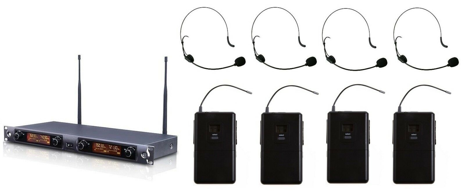Professional 4 Channel UHF Headset Wireless Microphone System Mic (Marke Neu)