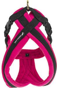 Pink fleece dog harness