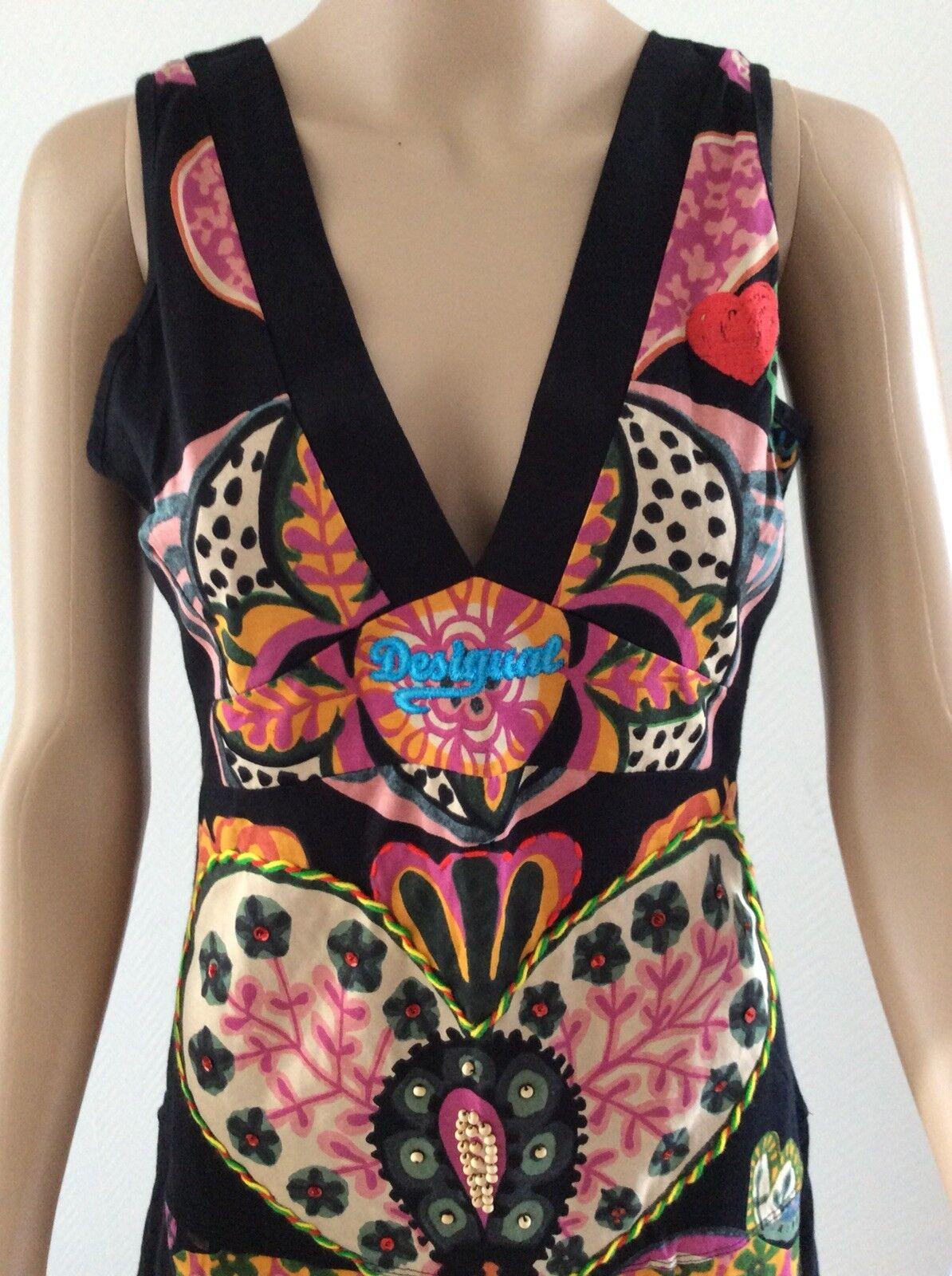 Desigual Kleid Yentes Multi Multi Multi Farbe  schwarz Damen Kleid Gr 38 M NEU 1f63a1