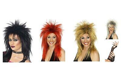 Women/'s Long Black Mullet Rock Star Wig Music Diva Fancy Dress Halloween Hen Fun